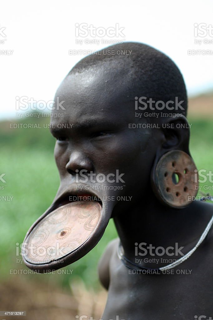 Woman From A Mursi Tribe stock photo