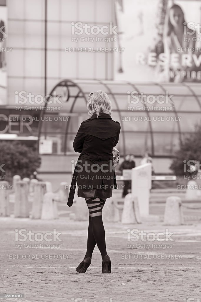 Woman from Back in Sepia royalty-free stock photo