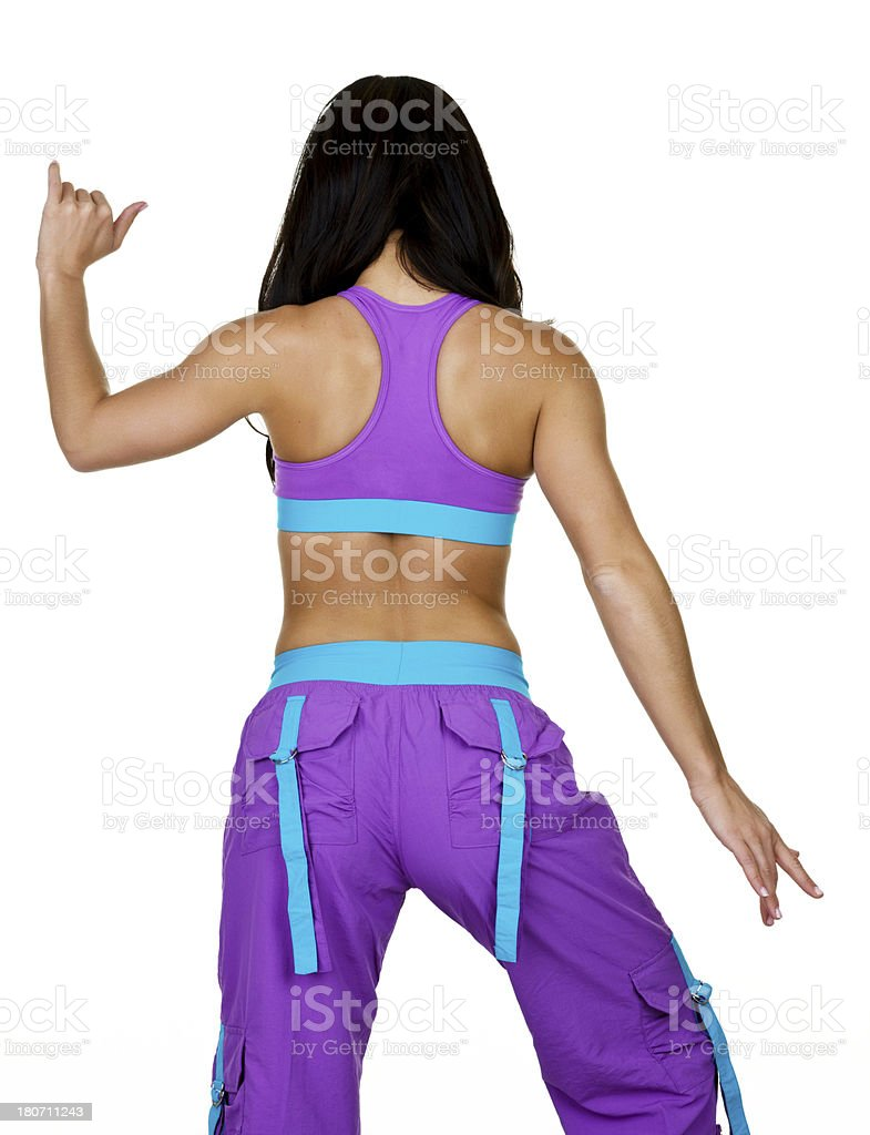 Woman from behind doing zumba royalty-free stock photo