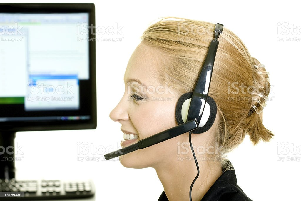 Woman from customer service isolated on white royalty-free stock photo