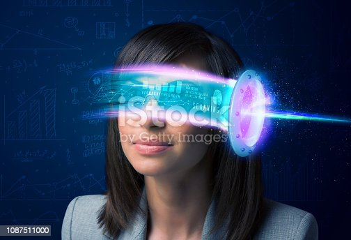 istock Woman from future with high tech smartphone glasses 1087511000