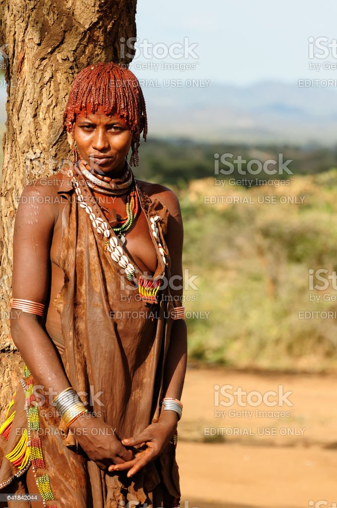 Woman from Hamer people stock photo