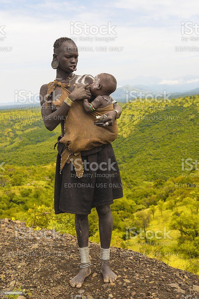 Woman from Mursi tribe royalty-free stock photo