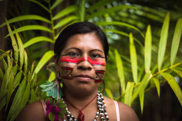 Woman from Tupi Guarani tribe in Manaus, Brazil stock photo