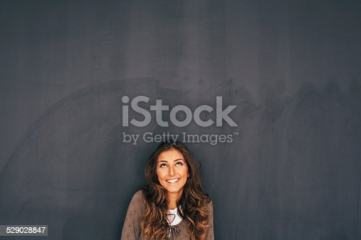 635680384 istock photo Woman Front of Blackboard 529028847