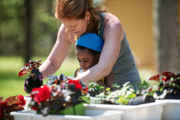 Woman gardening with her son stock photo