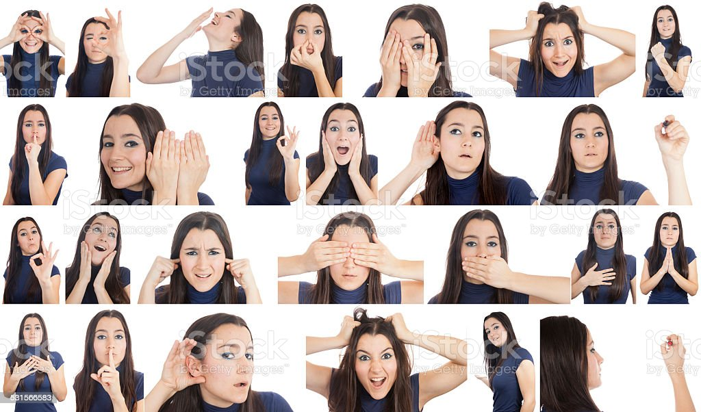 Woman gestures collage stock photo