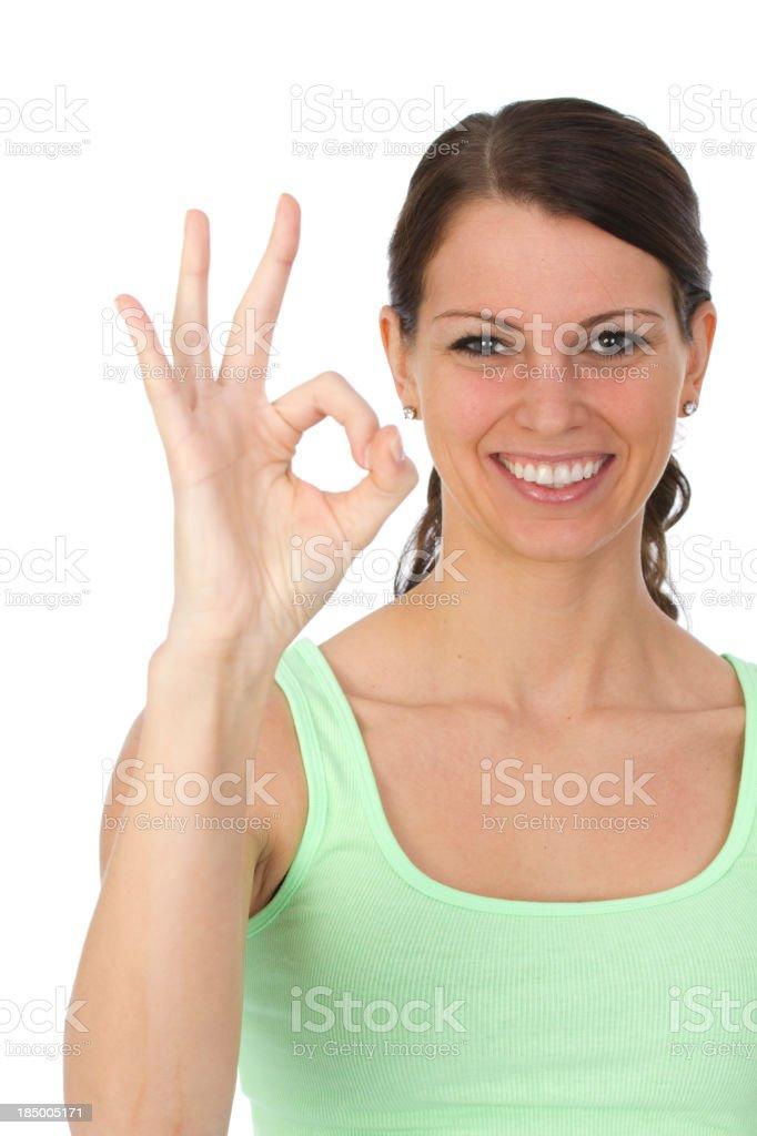 woman gesturing okay sign royalty-free stock photo