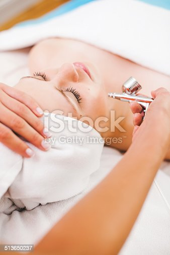 Woman getting a facial treatment at the spa