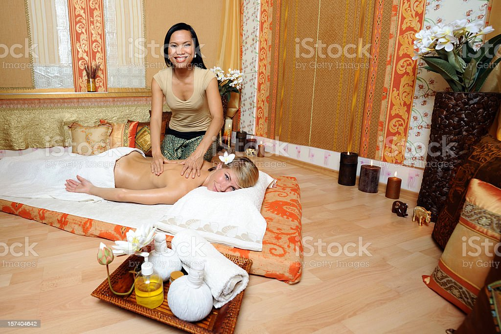 Woman getting a massage royalty-free stock photo