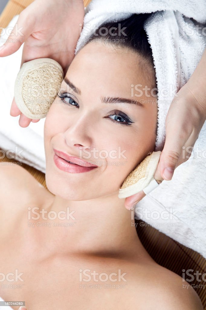 Woman getting a peeling royalty-free stock photo