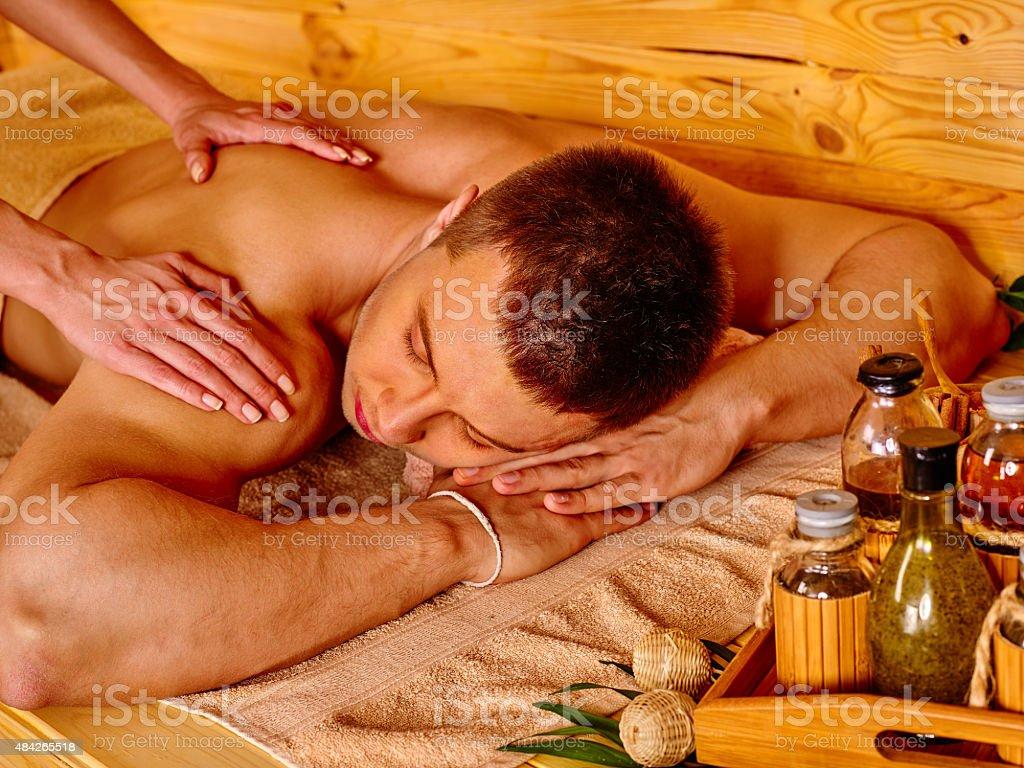 Woman getting bamboo massage royalty-free stock photo
