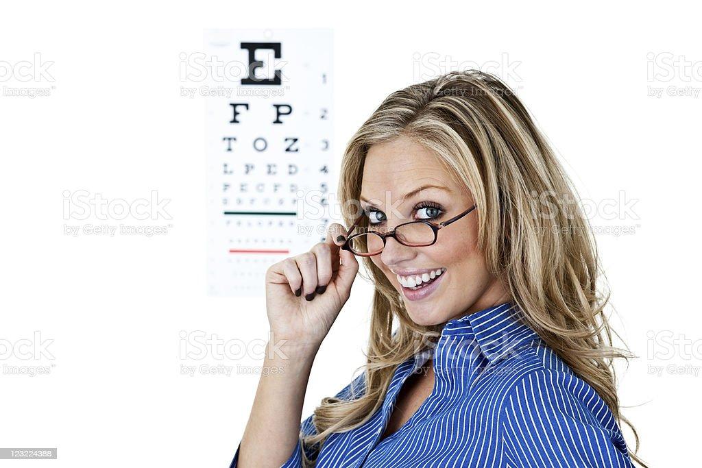 Woman getting eye exam royalty-free stock photo