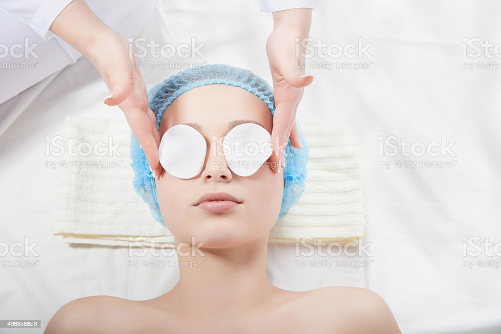 Woman getting face treatment in medical spa center royalty-free stock photo
