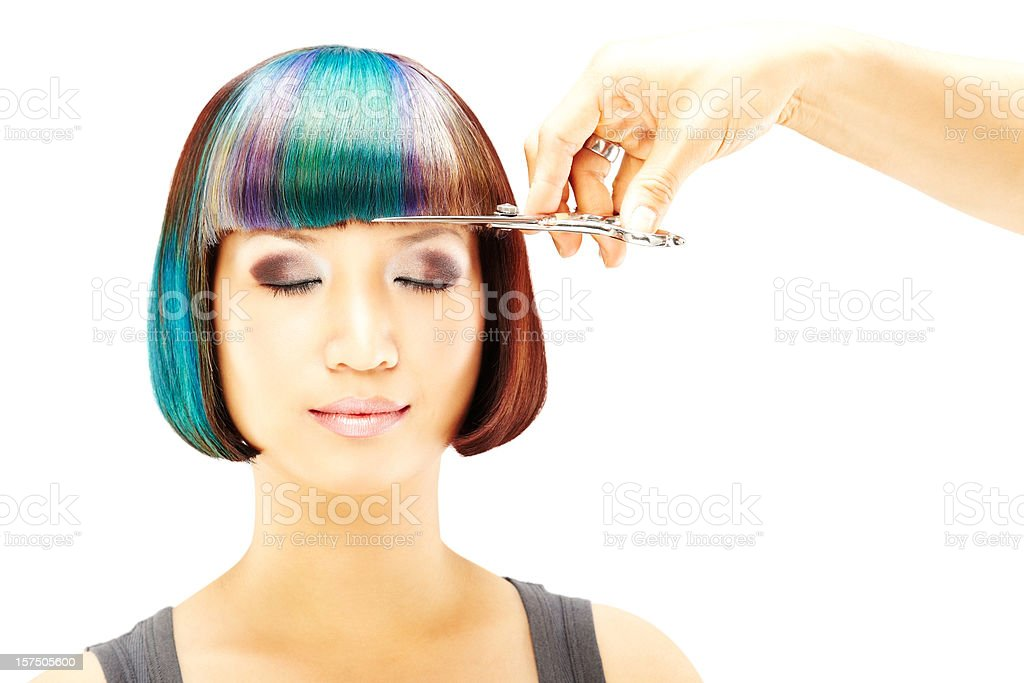 Woman Getting Haircut stock photo