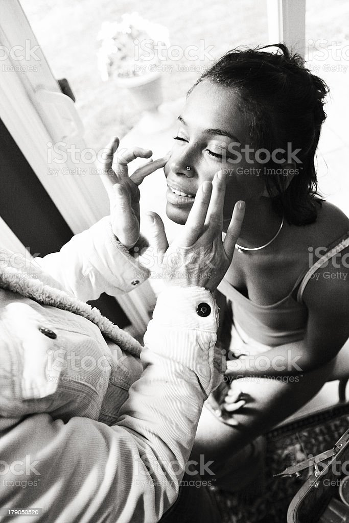 Woman Getting her Makeup Done royalty-free stock photo