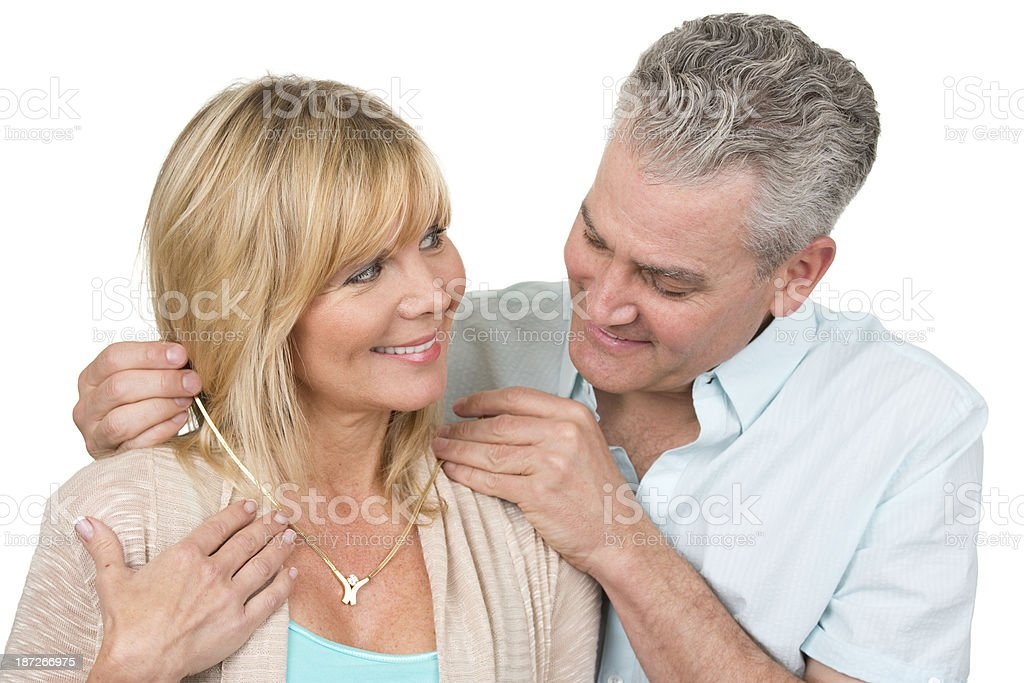 woman getting jewelry gift royalty-free stock photo