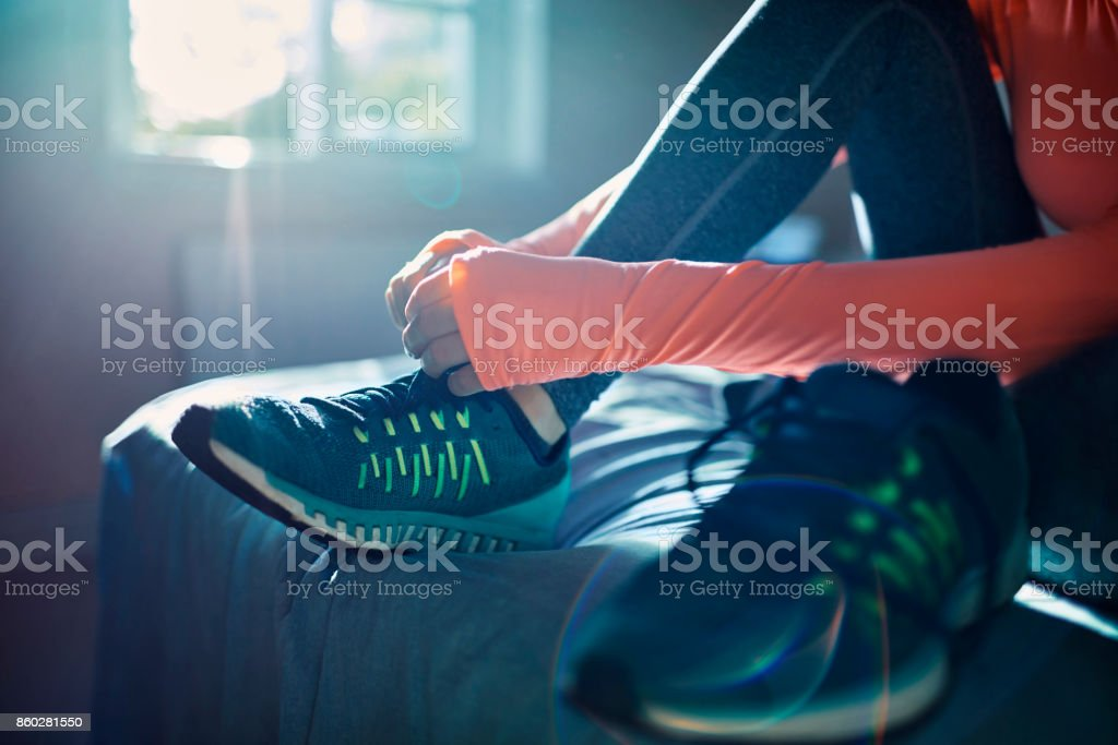 Woman getting ready for a workout stock photo