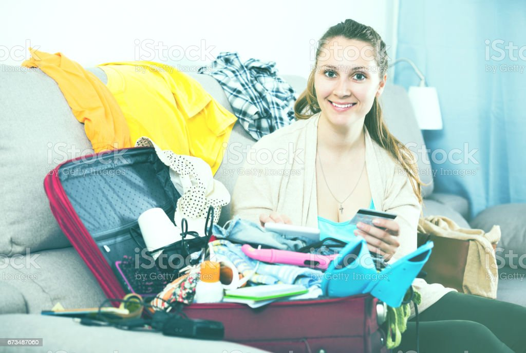 Woman getting ready for holidays stock photo