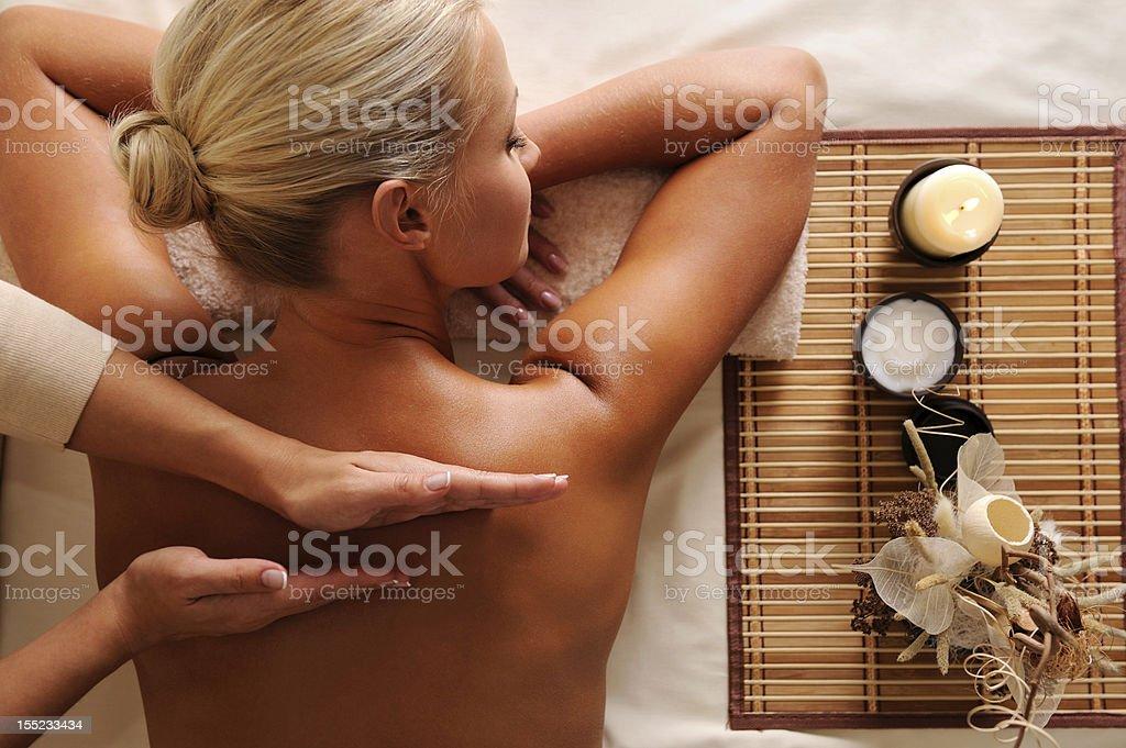 Woman getting  recreation massage royalty-free stock photo
