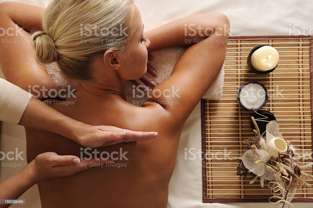 Woman getting  recreation massage stock photo