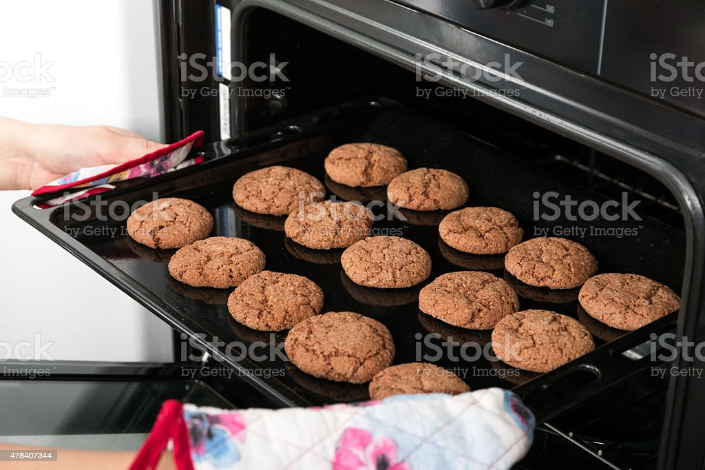 Woman getting roasting pan with oat cookies out of oven stock photo