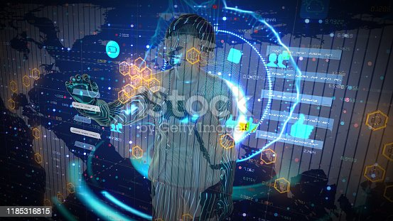 693586040istockphoto Woman Getting to work on her code with virtual screen 1185316815