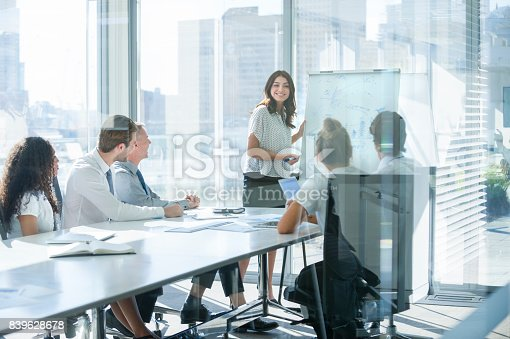 istock Woman giving a presentation to her team. 839628678