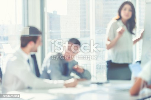 618851838 istock photo Woman giving a presentation to her team. 839628734