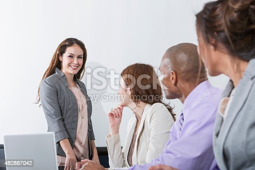 istock Woman giving business presentation to group 482887042