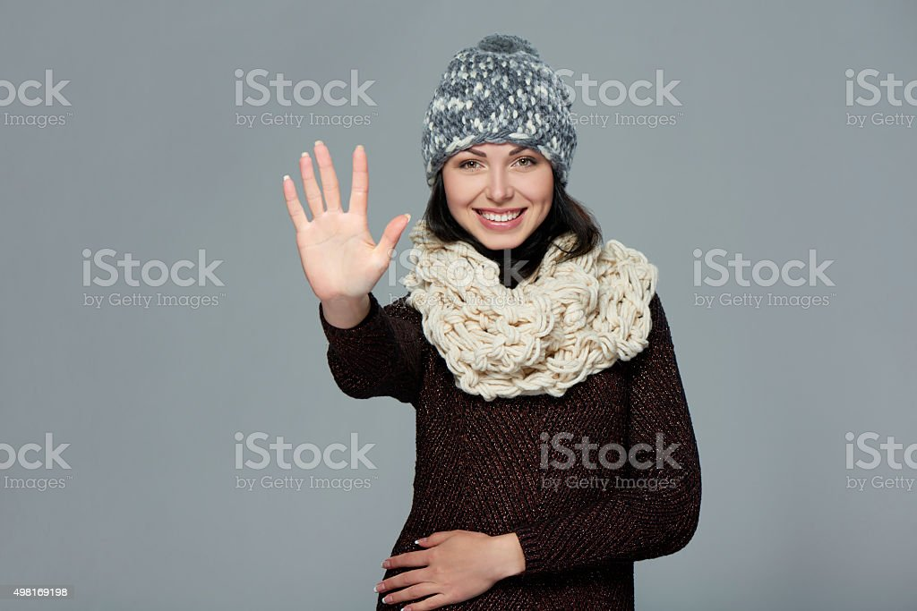 Woman giving high five gesture stock photo