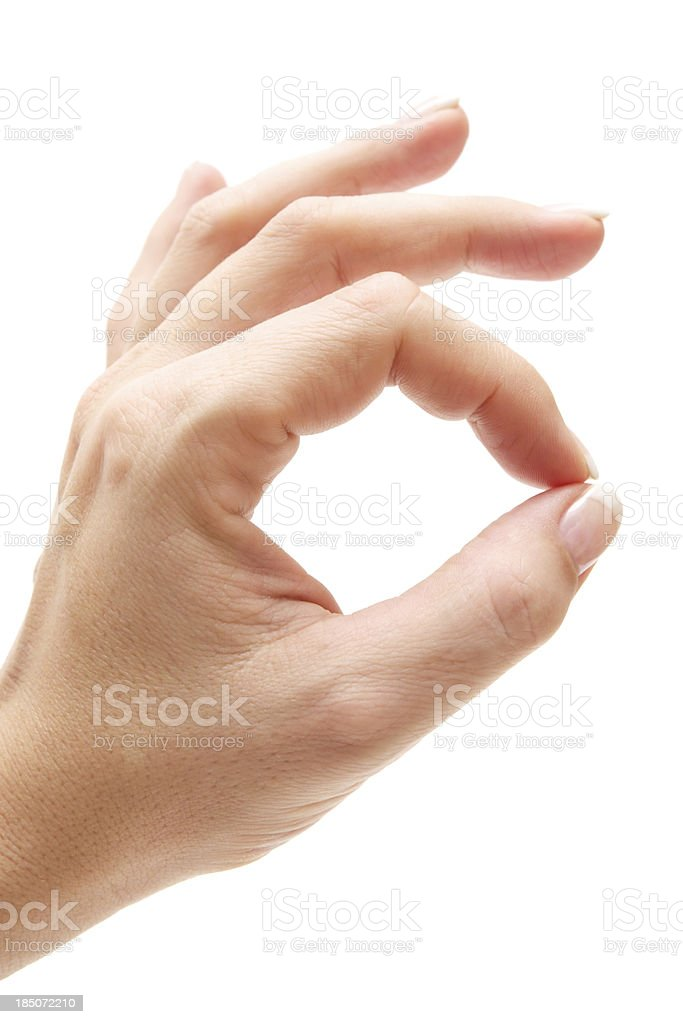 Woman Giving OK Sign stock photo