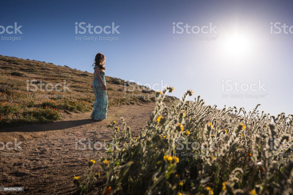 Woman going for walk in Antelope Valley Poppy Reserve royalty-free stock photo