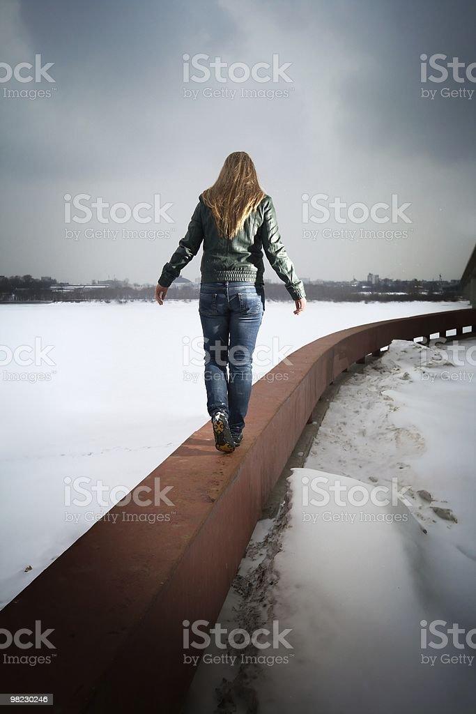 woman going on parapet royalty-free stock photo