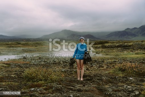 Young Caucasian woman  going to natural geothermal pool in Iceland