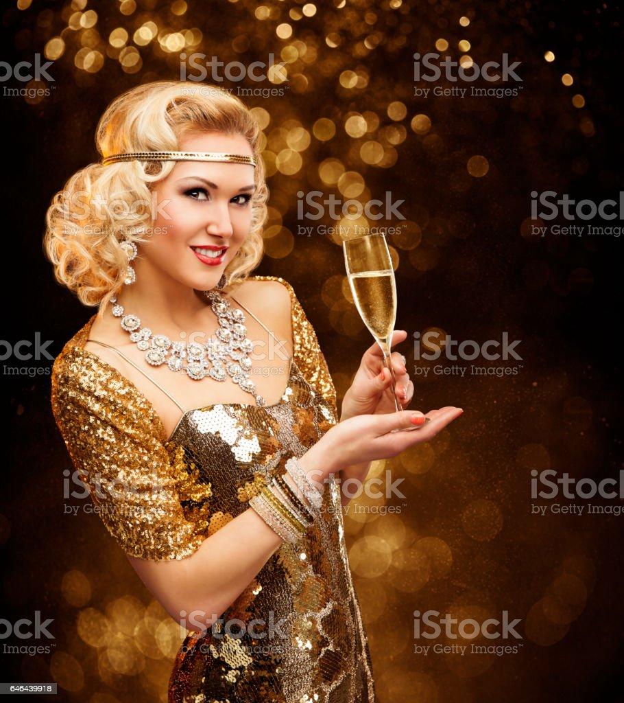 Woman in Gold Dress drinking Champagne, Beautiful Retro Fashion Lady...