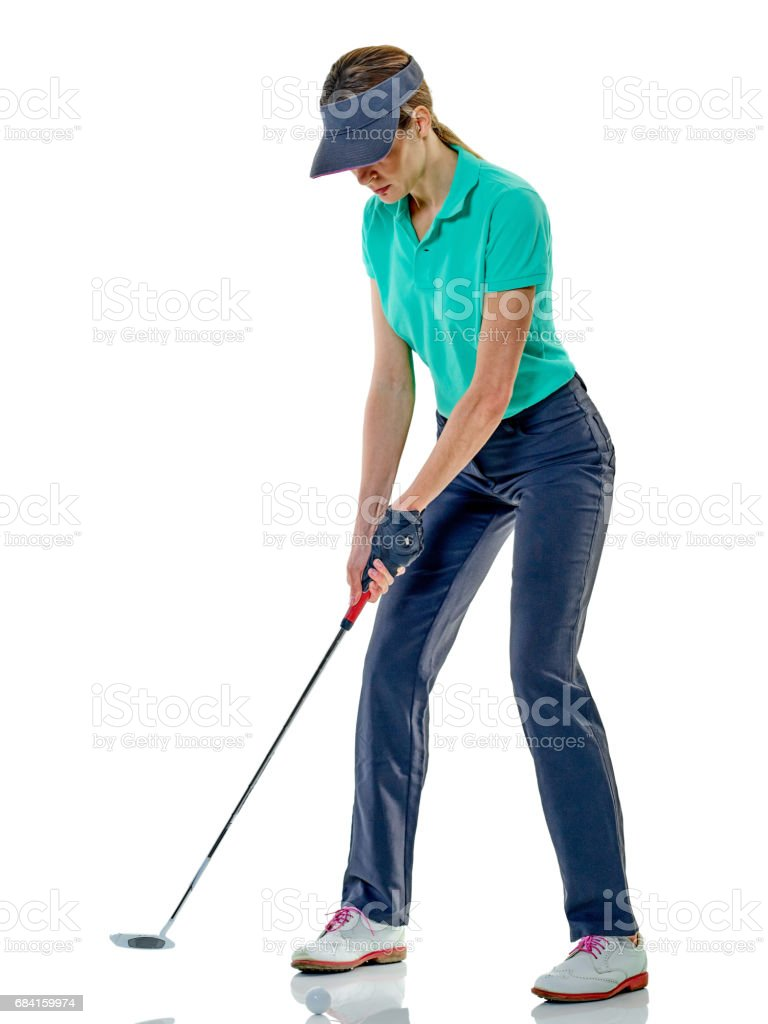 woman golfer golfing isolated royalty-free stock photo