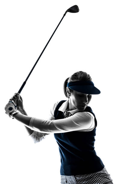 woman golfer golfing silhouette - female golfer stock photos and pictures