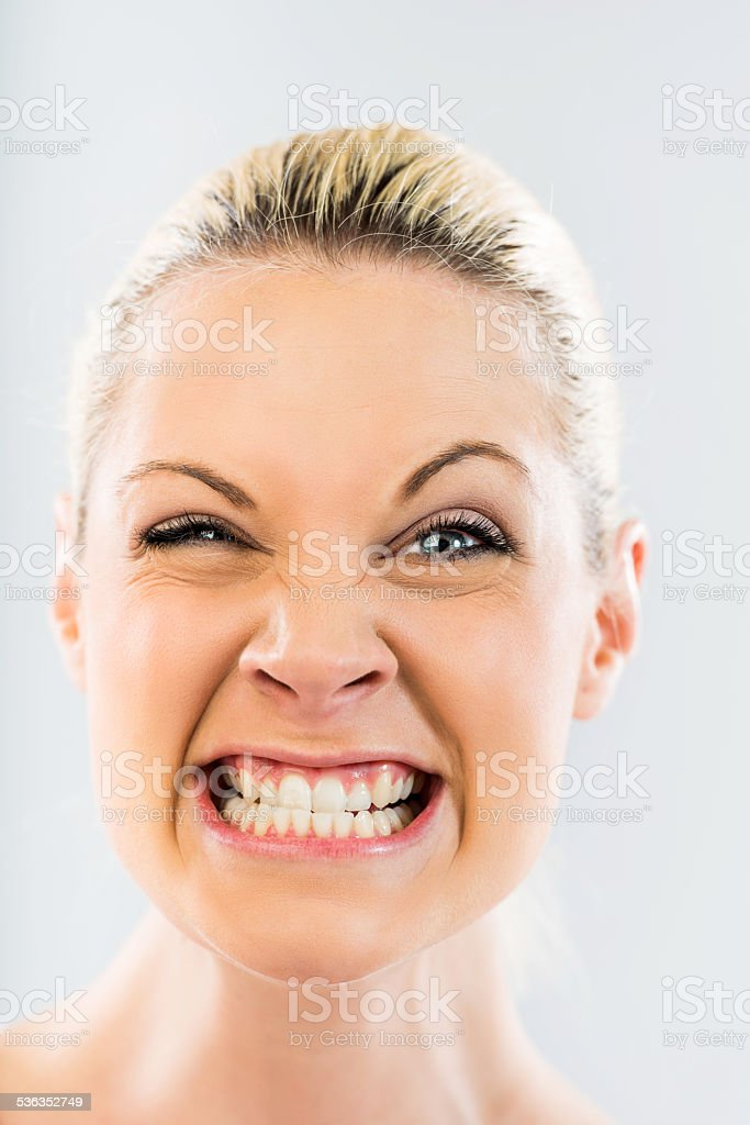 Woman goofing. stock photo
