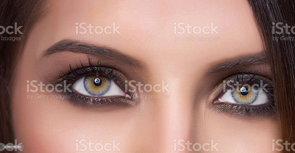 woman green eyes, macro stock photo