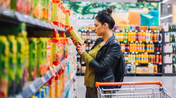Woman Groceries Shopping stock photo
