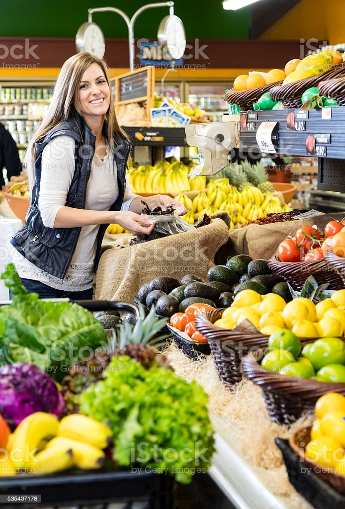 Woman Grocery Shopping stock photo
