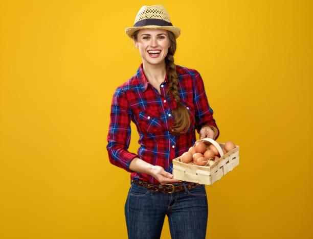 Frau Gärtner isoliert auf gelbem Hintergrund Korb mit Eiern – Foto