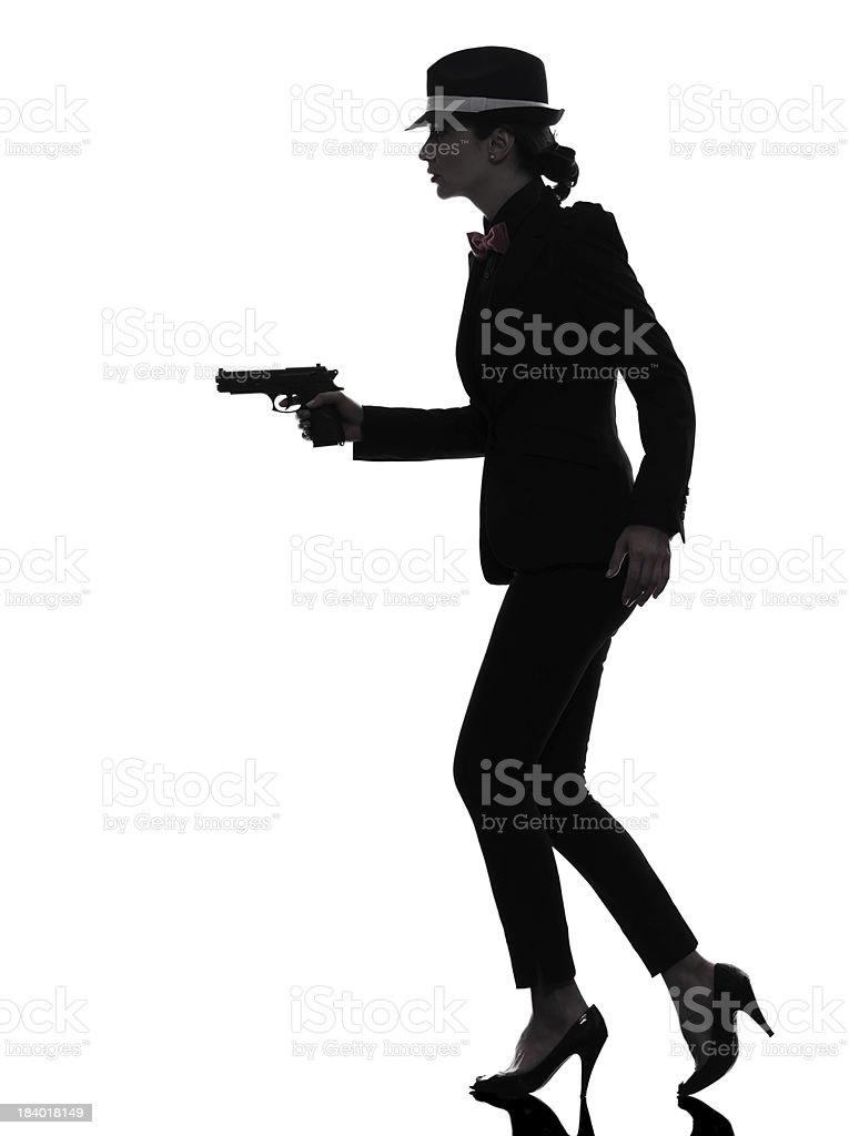 woman gun gangster killer silhouette royalty-free stock photo