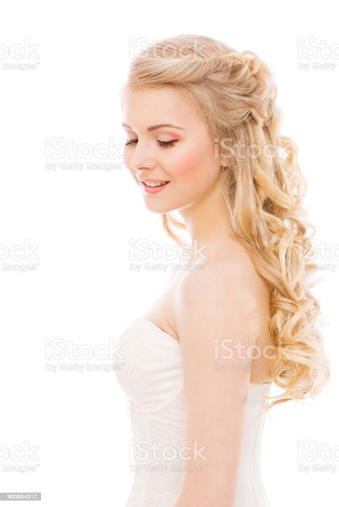 Frau Haar Und Gesicht Schönheit Mode Modell Lange Blonde