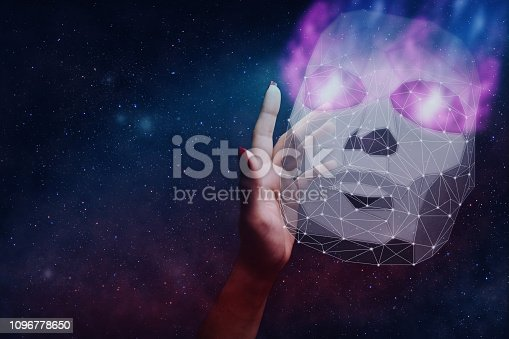 812847840 istock photo Woman hand and mask of hacker low poly. Mixed media. 1096778650