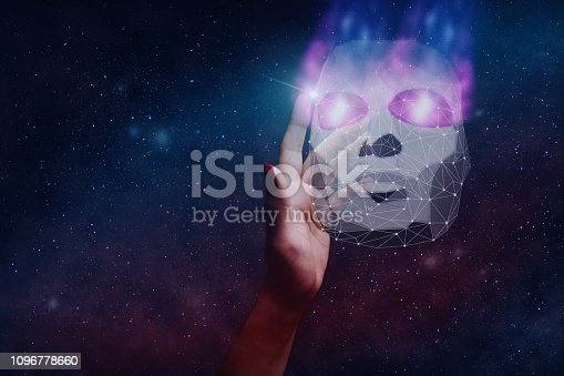 812847840 istock photo Woman hand and mask of hacker low poly. Mixed media. 1096778660