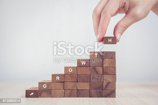 istock Woman hand arranging wood block stacking as step stair. Business concept growth success process. 910360514