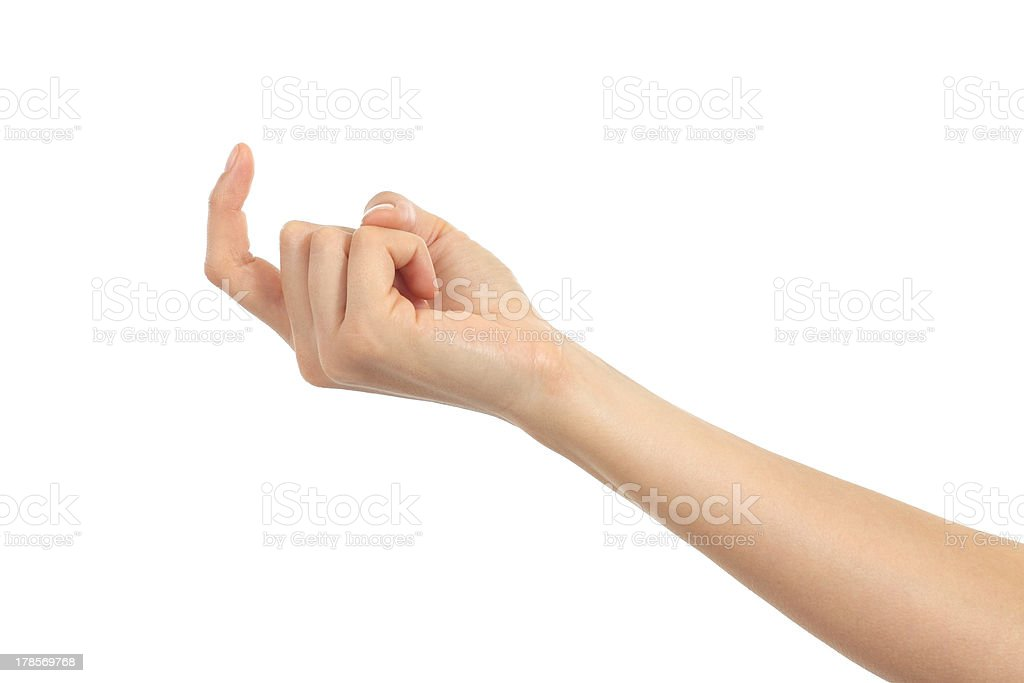 Woman hand beckoning stock photo