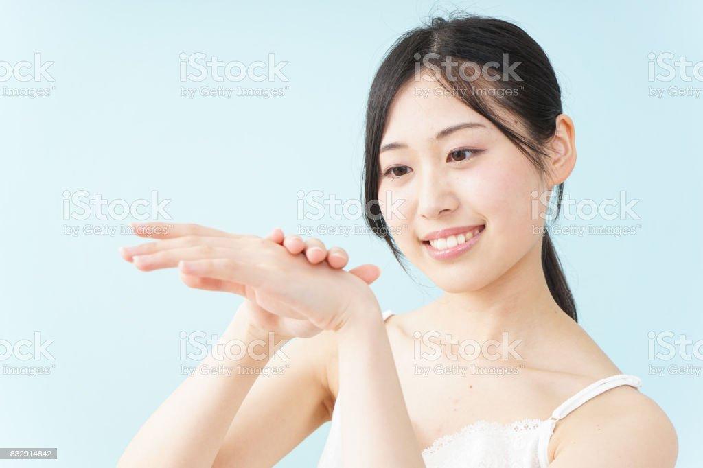 woman hand care stock photo